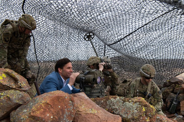 Dr. Mark Esper, secretary of the Army, gets an up-close-and-personal view of what the home of field artillery offers for joint fire support specialists when he visits Observation Point Andrews March 28, 2019.