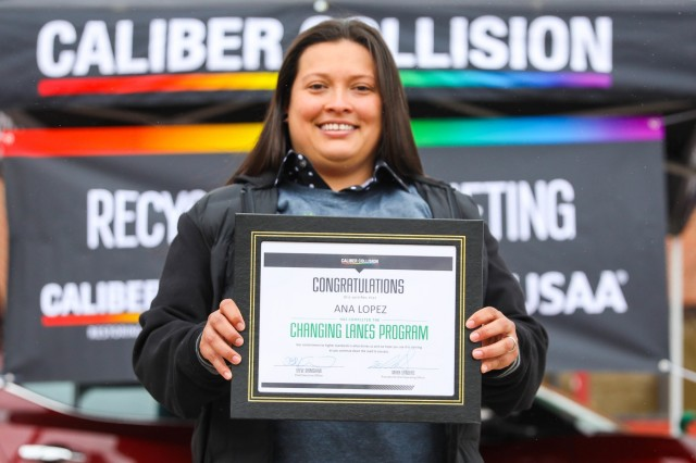Sgt. Ana Lopez, a wheeled vehicle mechanic with Golf Company, 1st Battalion, 12th Infantry Regiment, 2nd Infantry Brigade Combat Team, 4th Infantry Division, is awarded a certificate for completing a class March 29, 2019, after graduating from Caliber Collision Academy. Lopez, who is transitioning out of the Army, was offered a job opportunity in Fairfield, Calif., upon completion of the program and service to the Army.