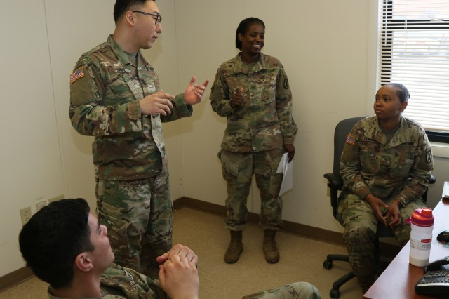 Lt. Sung K. Shin, the Commercial Vendor Services Chief/Disbursing Officer for Bravo Detachment of the 33rd Financial Management Support Unit here, informs the Soldiers of their upcoming tasks Mar. 28, 2019, on Fort Drum, NY.The unit is deployed in place to process all of the Commercial Vendor Services (CVS) contracts in support of the Central Command area of responsibility during a 9-month deployment from home.