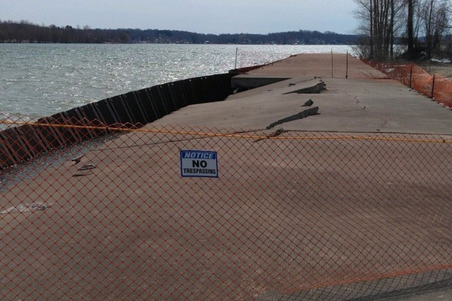 The Corps of Engineers, working closely with the village of Fair Haven, has installed a temporary barrier to prevent access to the west pier in the interest of public safety.  Until the pier is fully repaired, it is recommend that the public stay away from the damaged sections of the pier.