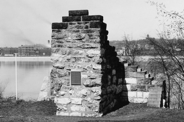 This stone pier is what remains from the first bridge across the Mississippi River.