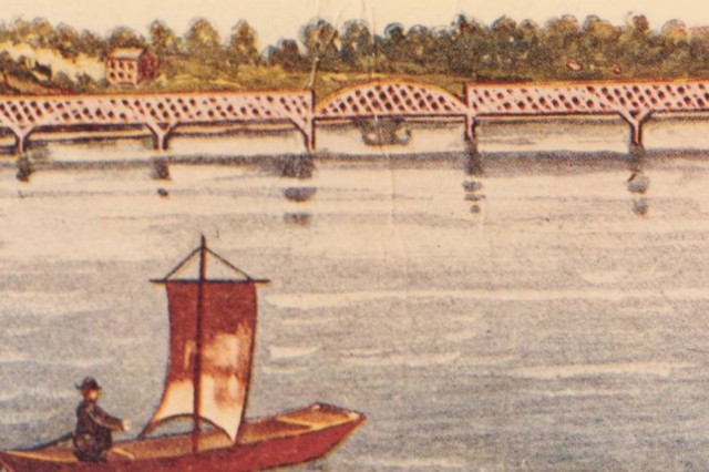 The first bridge across the Mississippi River, as seen from the river.