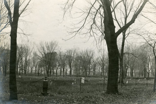 An early view of the Confederate Cemetery at Rock Island Arsenal.