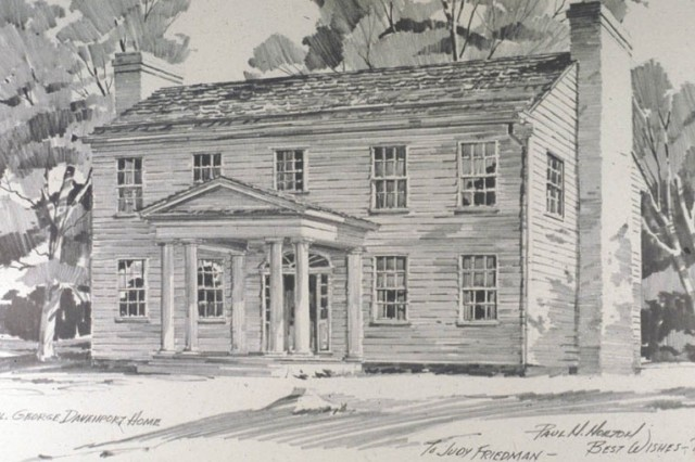A sketch of the Davenport House on Rock Island Arsenal.