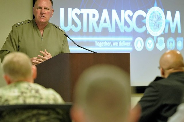 U.S. Marine Corps Lt. Gen. John Broadmeadow, deputy commander, U.S. Transportation Command, addressed members of the Global Patient Movement Joint Advisory Board April 2 at the Scott Air Force Base, Illinois, Force Flow Conference Center.
