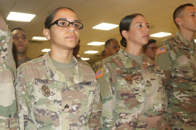 Sgt. Katherine Dozier, 25 years old Soldier from Cidra, Puerto Rico was one of the three females that received the German Armed Forces Proficiency Badge, April 5. Even though Dozier was able to qualify for the bronze badge, she is already planning to do it again next year and try to qualify for the gold badge.