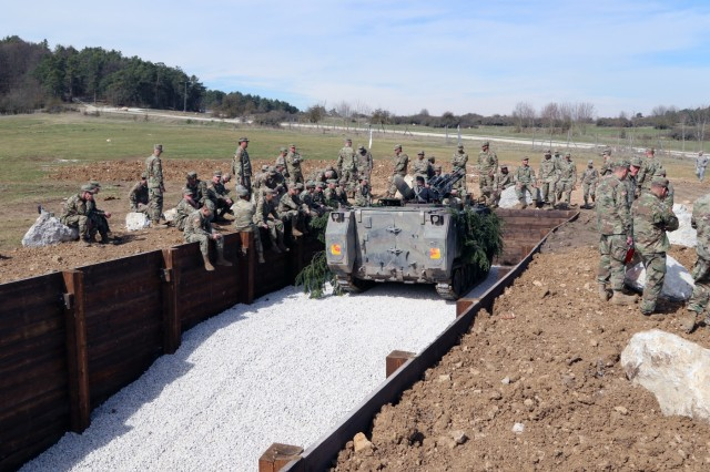 Soldiers assigned to the 372nd Engineer Company, U.S. Army Reserves, out of Pewaukee, Wisconsin, dug fighting positions during their annual training at Joint Multinational Readiness Center in Hohenfels, Germany, pictured April 4, 2019. The 372nd Eng. finished two fighting positions in the training  area on JMRC after having to deal with several instances of unexploded ordnance.