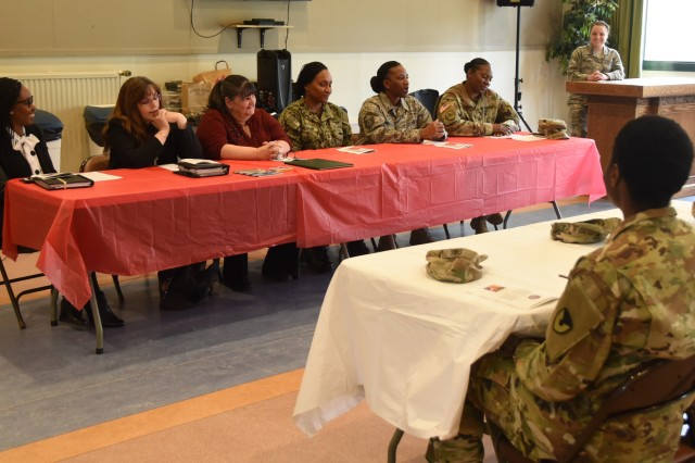 The U.S. Army Garrison Benelux community held a special observance for Women's History Month, March 27, 2019, at SHAPE, Belgium. During the event, female leaders spoke about how they overcame adversity in the military and the importance of fostering diversity.