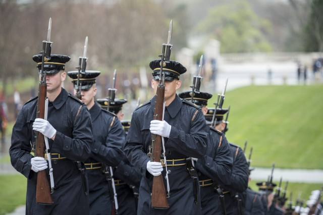 Soldiers from the 3d U.S. Infantry Regiment (The Old Guard) support an Armed Forces Full Honors Wreath-Laying at the Tomb of the Unknown Soldier at Arlington National Cemetery, April 5, 2019. The ceremony was conducted by President of the Democratic Republic of the Congo Felix Tshisekedi and hosted by U.S. Army Maj. Gen. Michael Howard, commanding general, U.S. Army Military District of Washington. (U.S. Army photo by Elizabeth Fraser / Arlington National Cemetery / released)