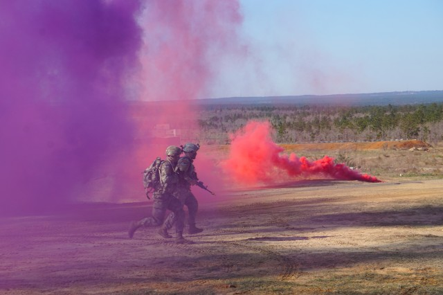 Companies of infantry Paratroopers practiced planning, rehearsing and executing missions across varied terrain, to include tactical team movements under obscuration, during the 1BCT CALFEX on OP13 at Fort Bragg, March 25 through April 6, 2019.