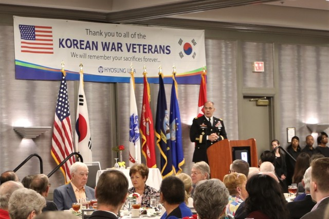 Gen. Gus Perna, commanding general of the Army Materiel Command, shares words of appreciation with Korean War Veterans and their families at the 14th Annual Korean War Veterans Luncheon April 4, 2019, in Huntsville, Ala.