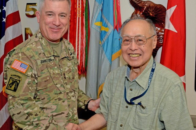 U.S. Army Intelligence and Security Command's Commanding General, Maj. Gen. Gary W. Johnston, thanked Robert K. Maeshiro, a Communications Security (COMSEC) account manager assigned to the 500th Military Intelligence Brigade-Theater (MIB-T),for serving 55 years with the U.S. federal government as an active duty Soldier and a Department of Defense (DoD) civilian on Jan. 19.