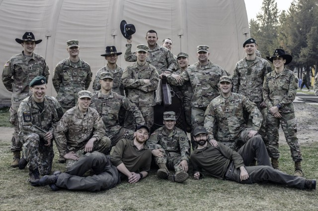 Group photo of the newly spurred troopers after the Order of the Spur induction ceremony held at the Yavoriv Combat training Center, Ukraine, April 8.