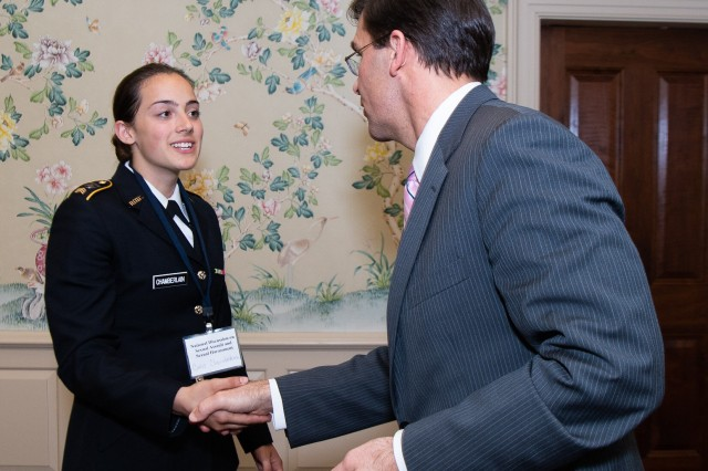 Secretary of the Army Mark Esper meets with Cadet Chamberlain and three other ROTC cadets to address their concerns on sexual harassment and violence, and also discuss possible solutions for prevention. Esper attended the National Discussion on Sexual Assault and Sexual Harassment at America's Colleges, Universities and Service Academies at the Naval Academy, April 4.