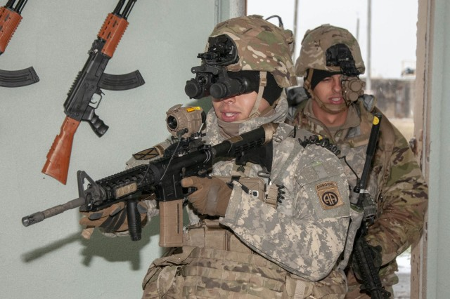 A Soldier uses the Army's new night vision goggle, called the Enhanced Night Vision Goggle-Binocular, or ENVG-B. The service will begin fielding the devices in October.
