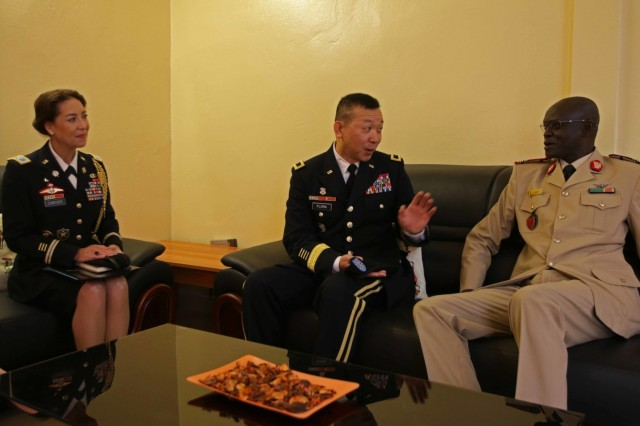 U.S. Army Africa Deputy Commanding General Brig. Gen. Lapthe Flora, Senegalese Administer of Health Col. Ibrahima Diouf and U.S. Embassy of Senegal Defense Attache' Col. Gwyn Carver discuss the MEDREX at the Hospital Military De Ouakam, Senegal, during Medical Readiness Exercise 19-2, 8 April 2019. Medical Readiness Exercises provide a real-world environment where medical professionals from both militaries can build and strengthen medical treatment capability and capacity by honing their medical skills in alternative conditions while also learning different protocols from their counterparts.