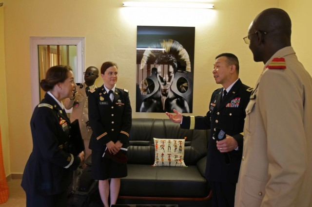 U.S. Army Africa Deputy Commanding General Brig. Gen. Lapthe Flora, Senegalese Administer of Health Col. Ibrahima Diouf and U.S. Embassy of Senegal Defense Attache' Col. Gwyn Carver meet at the Hospital Military De Ouakam, Senegal, during Medical Readiness Exercise 19-2, 8 April 2019. Medical Readiness Exercises provide a real-world environment where medical professionals from both militaries can build and strengthen medical treatment capability and capacity by honing their medical skills in alternative conditions while also learning different protocols from their counterparts.
