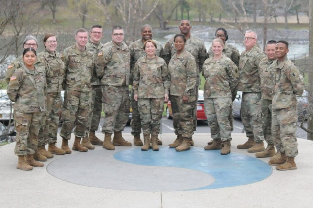 Brig. Gen. Yesenia R. Roque, National Guard Assistant Director for Army National Guard Personnel and Talent Management, joins Virginia National Guard Soldiers assigned to the Staunton-based 116th Infantry Brigade Combat Team for a group photo April 6, 2019, in Staunton, Virginia.