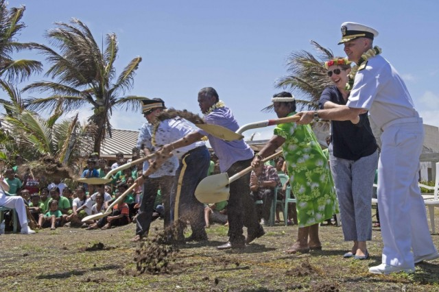 ENNIBURR, Republic of the Marshall Islands (March 26, 2019) Rear Adm. Joey Tynch, Commander, Task Force 73, and special guests dig the first holes during a ground-breaking ceremony during Pacific Partnership 2019. Pacific Partnership, now in its 14th iteration, is the largest annual multinational humanitarian assistance and disaster relief preparedness mission conducted in the Indo-Pacific. Each year, the mission team works collectively with host and partner nations to enhance regional interoperability and disaster response capabilities, increase stability and security in the region, and foster new and enduring friendships in the Indo-Pacific.