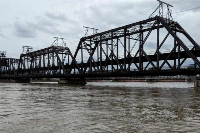 The Government Bridge links Rock Island Arsenal to Davenport, Iowa.