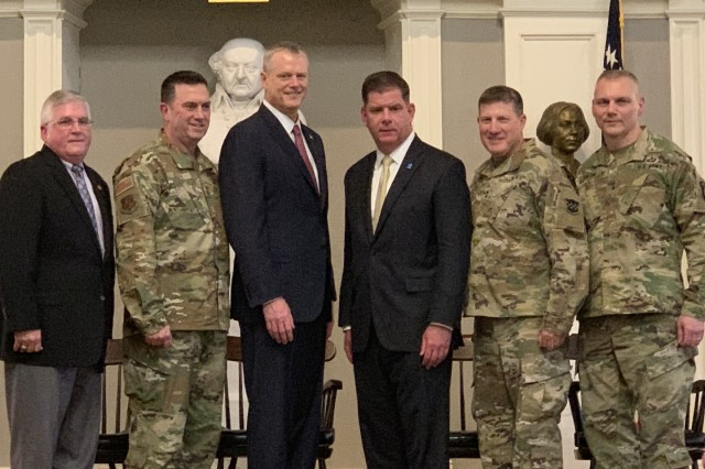 Brian Concannon, civilian aide to the Secretary of the Army, Maj. Gen. Gary Keefe, adjutant general of the Massachusetts National Guard, Gov. Charlie Baker, Mayor Marty Walsh, Maj. Gen. Mark Palzer, commanding general of the 99th Readiness Division, and Brig. Gen. Vincent Malone on April 8, 2019.