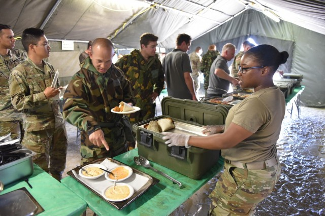 Spc.  Daquanda Marbury, Culinary Specialist 553 FFC, serves U.S. and British Soldiers at the British Army DFAC on Fort Hood, Texas on April 8, 2019. The British Army is at Fort Hood participating in Warfighter Exercise 19-4.