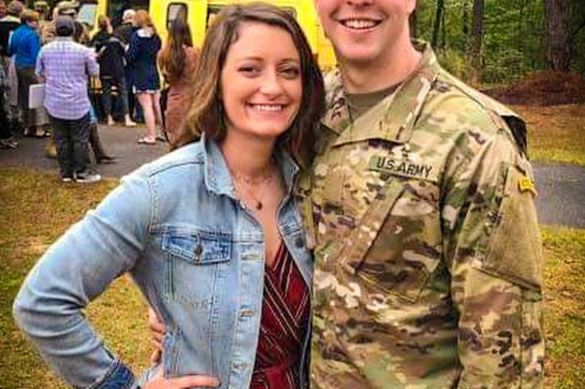 FORT BENNING, Ga. - Staff Sgt. Austin Forby and his wife, Emily, reunite at the conclusion of the Ranger School Class 04-19 graduation ceremony at Fort Benning, Georgia, April 5, 2019. Ranger School is a 61-day combat leadership course designed to test the physical and mental toughness of Soldiers who want to join the elite ranks of U.S. Army Rangers, or those who desire to master the fundamentals of small-unit tactics. (U.S. Army photo courtesy by the Forby family)