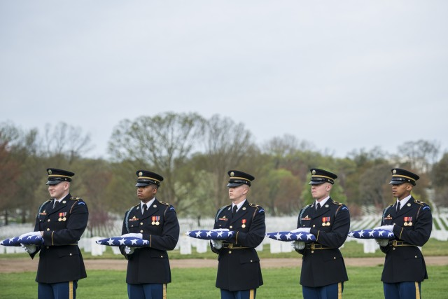 Military Funeral Honors with Funeral Escort for U.S. Army Chief Warrant Officer 2 Jonathan Farmer in Section 60