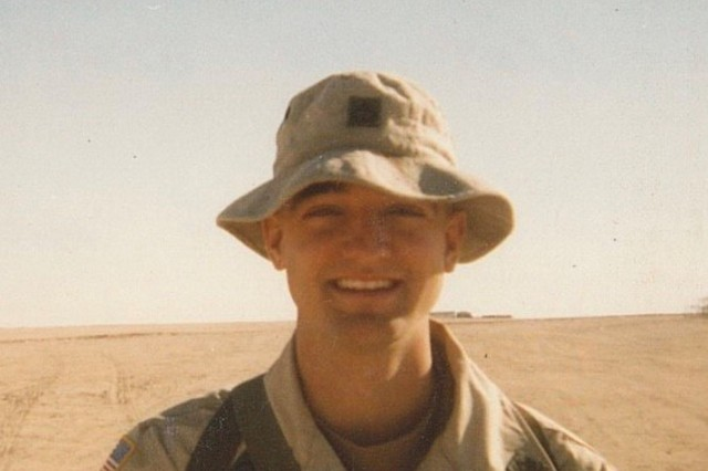 In this undated photo, then Spc. Travis Morrow poses, while serving as a cavalry scout with the 3/7 Cavalry Squadron, 7th Cavalry Regiment, Fort Stewart, Georgia, during a deployment to Kuwait in 2000. (Courtesy Photo)