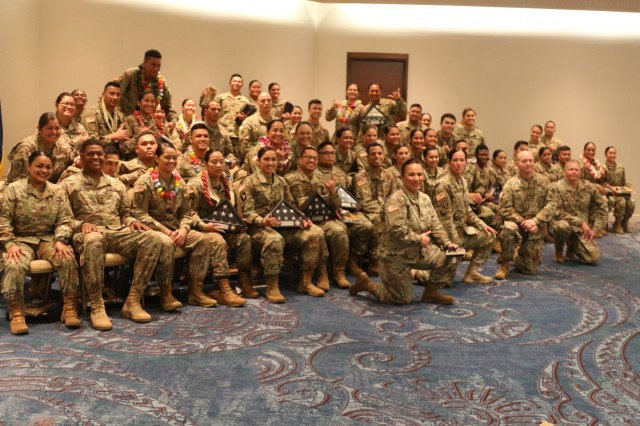 HONOLULU, Hawaii -  The 962nd Quartermaster (Mortuary Affairs) Co. Det. 2, though geographically dispersed across the Pacific, converged for the Yellow Ribbon Reintegration and Welcome Home Warrior Citizen Ceremony here March 31. The 962nd Soldiers from Alaska, Guam, Saipan, American Samoa, across the Hawaiian islands converged, trained together as one concise unit, then deployed across the Central Command region, establishing teams from Kandahar to Kuwait, all with the mission of bringing them home.