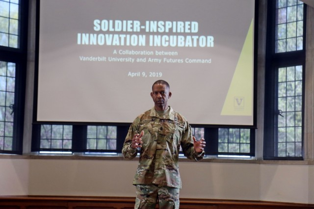 Command Sgt. Maj. Michael Crosby, the senior enlisted advisor for Army Futures Command, speaks to a collection of Leaders from 3rd Brigade Combat Team, 101st Airborne Division (Air Assault) and professors from Vanderbilt University about Soldier-Inspired Innovation at Alumni Hall Apr. 9. The conference took place shortly after the signing of the Educational Partnership Agreement between Army Futures Command and Vanderbilt. (Photo by Staff Sgt. Cody Harding, 3rd BCT Public Affairs.)