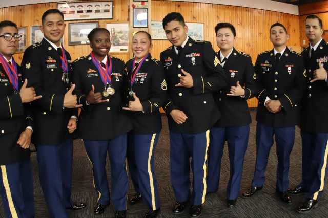 WAIOURU MILITARY CAMP, New Zealand -- U.S. Army Hawaii culinary team poses for a photo following the 42nd Annual Roy Smith Memorial Culinary Competition awards ceremony April 9, 2019 here. The team placed placed silver in petit fours and flambé as well as bronze in main entrée and dessert. (Photo by U.S. Army Sgt. 1st Class Heather A. Denby, 28th Public Affairs Detachment)