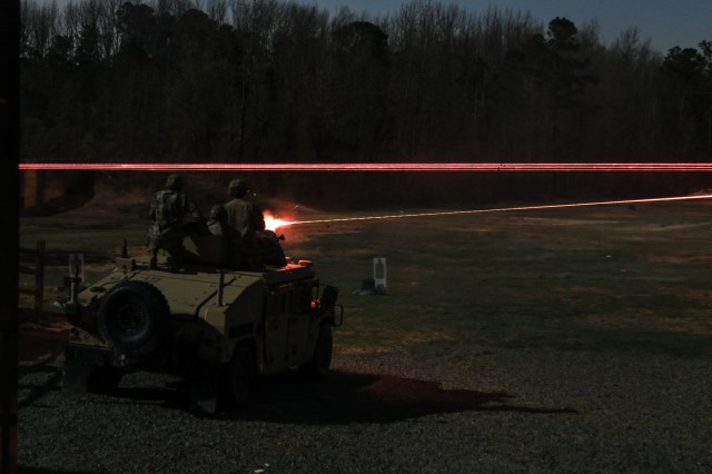 U.S. Army Soldiers in the United States Army Special Operations Command International Sniper Competition fire rounds downrange during a night live-fire range on Fort Bragg, NC, March 20, 2019. Twenty-one teams competed in the USASOC International Sniper Competition where instructors from the United States Army John F. Kennedy Special Warfare Center and School designed a series of events that challenged the two-person teams' ability to work together, firing range, speed and accuracy in varied types of environments.
