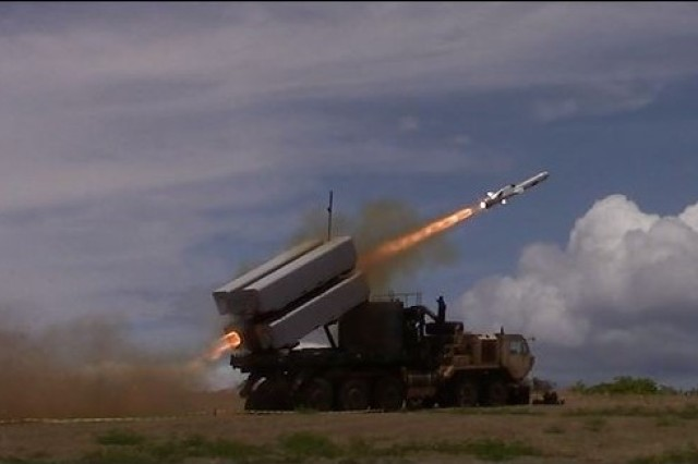 A missile is launched from a U.S. Army M1075 PLS truck during a test exercise on Pacific Missile Range Facility in Barking Sands, Hawaii, on July 12, 2018.