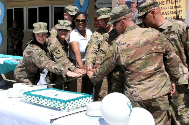 Iron Eagle Soldiers from the 1st Armored Division Combat Aviation Brigade and Area Support Group- Afghanistan Soldiers were joined by leaders and SHARP Coordinators in a ceremony April 1 to kick off SHARP Awareness Month 2019 in Afghanistan.