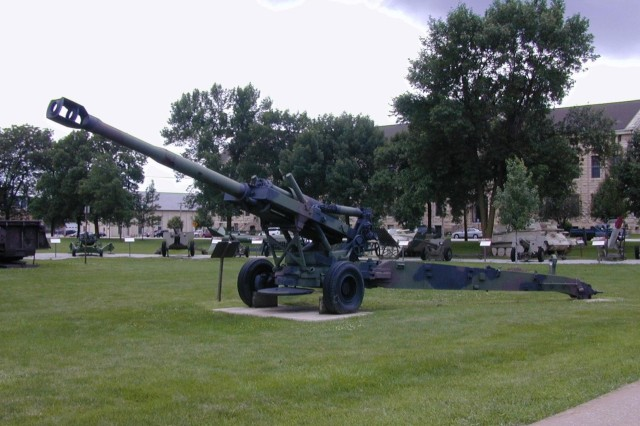 Artillery pieces, including those produced at Rock Island Arsenal, are on display at Memorial Field.