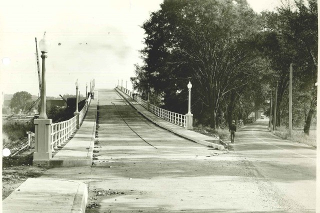 This is one of the earlier versions of the bridge that connects Moline to Rock Island Arsenal.