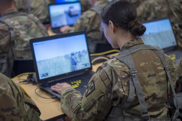 Oklahoma Army National Guardsmen with Headquarters Company, 271st Brigade Support Battalion, 45th Field Artillery Brigade, utilize a virtual system, known as the Virtual Battle Space III (VBS3), Saturday, April 6, 2019, in order to train as a team in virtual scenarios in preparation for an upcoming Exportable Combat Training Capability (XCTC), Operation Western Strike.
