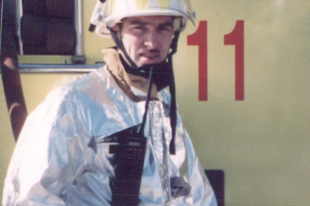 Fire Chief Charlie Butler of U.S. Army Garrison Okinawa, Torii Station, on the job in 1992.
