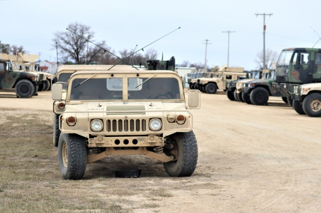 Army vehicles used for Operation Cold Steel III Task Force Fortnite training are ready for use April 4, 2019, on the cantonment area at Fort McCoy, Wis. Operation Cold Steel III is a gunnery exercise with Soldiers qualifying on the M2, MK-19, and M240B weapon systems. According to the Army Reserve, the training completed during Operation Cold Steel is critical to ensuring that Army Reserve units and Soldiers are trained and ready to deploy on short notice and bring combat-ready and lethal firepower in support of Army and Joint Force partners around the world. (U.S. Army Photo by Scott T. Sturkol, Public Affairs Office, Fort McCoy, Wis.)
