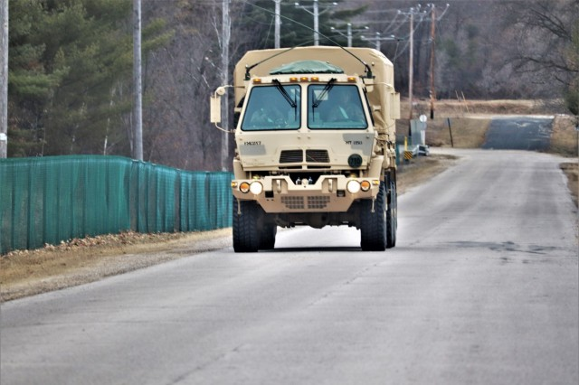 Soldiers operate a military truck for Operation Cold Steel III Task Force Fortnite on North Post on April 4, 2019, at Fort McCoy, Wis. Operation Cold Steel III is a gunnery exercise with Soldiers qualifying on the M2, MK-19, and M240B weapon systems. According to the Army Reserve, the training completed during Operation Cold Steel is critical to ensuring that Army Reserve units and Soldiers are trained and ready to deploy on short notice and bring combat-ready and lethal firepower in support of Army and Joint Force partners around the world. (U.S. Army Photo by Scott T. Sturkol, Public Affairs Office, Fort McCoy, Wis.)