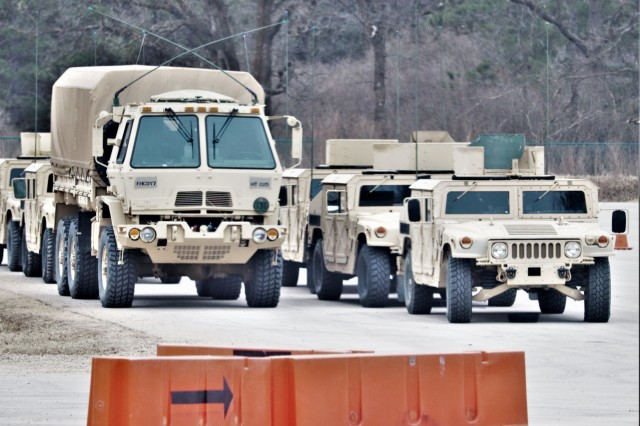 Army vehicles used for Operation Cold Steel III Task Force Fortnite training are ready for use April 4, 2019, at Range 2 at Fort McCoy, Wis. Operation Cold Steel III is a gunnery exercise with Soldiers qualifying on the M2, MK-19, and M240B weapon systems. According to the Army Reserve, the training completed during Operation Cold Steel is critical to ensuring that Army Reserve units and Soldiers are trained and ready to deploy on short notice and bring combat-ready and lethal firepower in support of Army and Joint Force partners around the world. (U.S. Army Photo by Scott T. Sturkol, Public Affairs Office, Fort McCoy, Wis.)