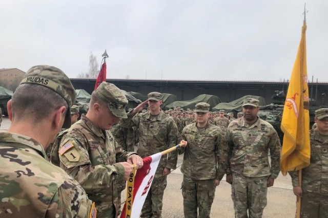 The Warhorse Troop, 4th Squadron, 2d Cavalry Regiment earns the 90-day DUI free streamer in Vilseck, Germany, April 9, 2019. The No DUI Saber Program provides transportation to Soldiers who happen not to be sober and without an emergency plan to safely return home. (U.S. Army photo by Master Sgt. Justin Little)