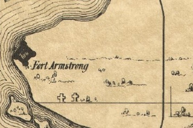 This map shows the location of the first post cemetery on the arsenal, located near Fort Armstrong; nothing remains from the old guard cemetery or original Confederate cemetery used to inter those who died at the prisoner of war camp.