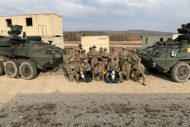 For the first time in history, the chemical, biological, radiological and nuclear reconnaissance platoons of the 2d Cavalry Regiment and 173rd Airborne Brigade came together to conduct joint training at the 7th Army Training Command's Grafenwoehr Training Area, Grafenwoehr, Germany, Feb. 25 - 28, 2019. The training sparked a new addition to platoon tactics as the mounted 2CR CBRN Stryker platoon effectively displayed its capability of providing security in a contaminated environment for dismounted 173rd CBRN platoon operations. (U.S. Army photo by 1st Lt. Joshua Snell, 2d Cavalry Regiment)