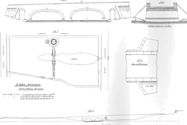 This map from the plans for Rock Island Arsenal shows the design for the artificial lake and bridge.