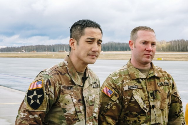 Capt. Logan Gorges and Staff Sgt. Stephen Yang, Soldiers from 2-1 General Aviation Support Battalion, assigned to Task Force Nightmare North, 3-1 Assault Helicopter Battalion, 1st Combat Aviation Brigade, 1st Infantry Division, acted quickly to save an elderly Latvian man's life.