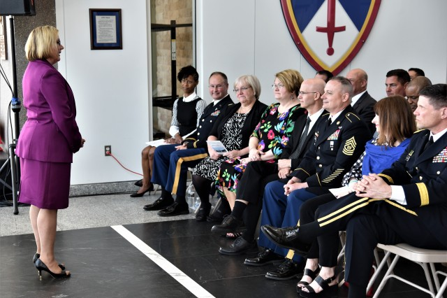 Karen L. Taylor, former chief of staff of the U.S. Army Test and Evaluation Command (ATEC), gives a special thanks to the ATEC leadership and directors for their dedication and support to the command and the U.S. Army, during her retirement ceremony April 3.