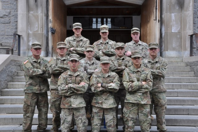 ROTC cadets from the University of Northern Georgia pose for a photo before the 2019 Sandhurst Military Skills Competition at the United States Military Academy at West Point, New York, April 11.