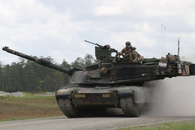 Soldiers from Company B, 1st Battalion, 64th Armor Regiment, 1st Armor Brigade Combat Team, roll back to the front of the range after completing their gunnery table five on April 11, 2019, Fort Stewart, Ga. Gunnery table five is a live fire exercise that tests tank crews on identifying and engaging targets with their weapon systems.